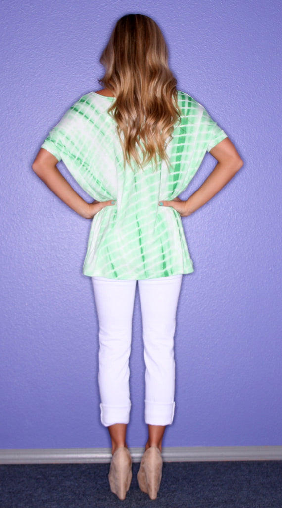 Tie Dye Short Sleeve Piko in Green