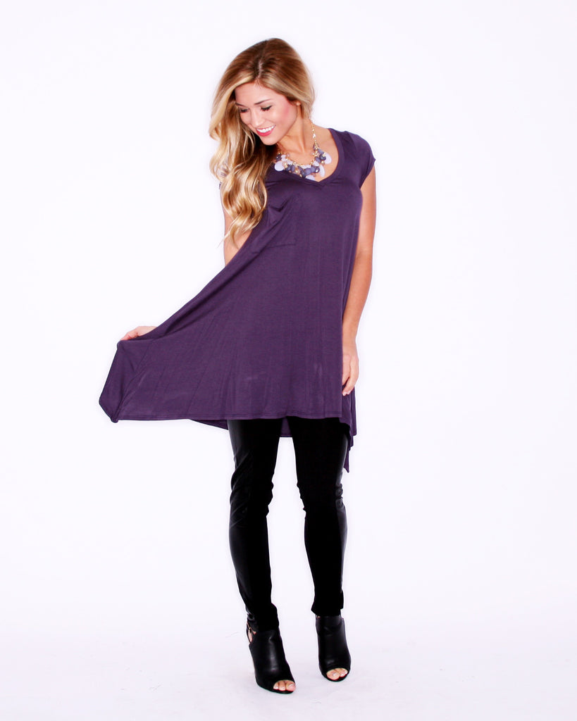 Flowy & Fab Short Sleeve in Plum