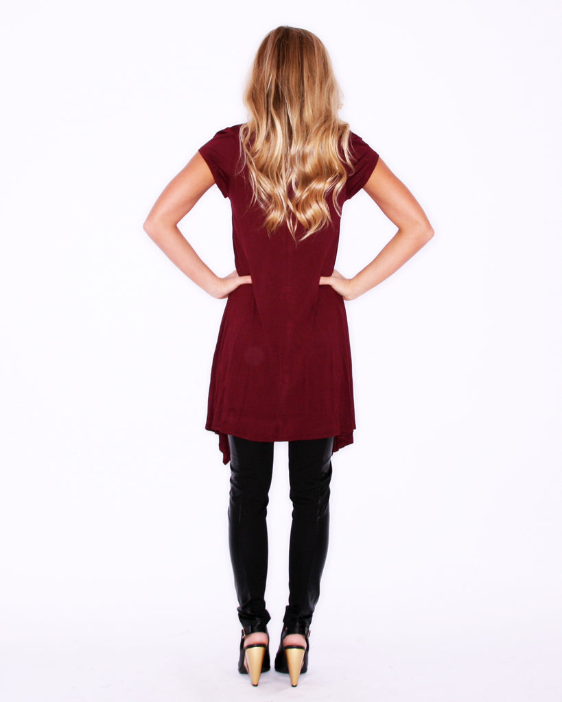 Flowy & Fab Short Sleeve in Wine