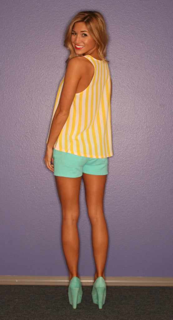 Yellow Stripe Piko Tank