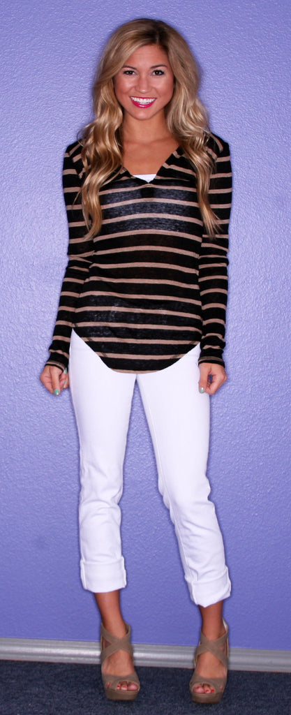 Bobi Honey Striped Henley