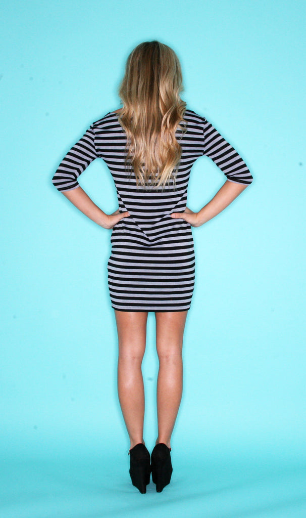 Long Sleeve PIKO Dress in Grey & Black Stripe
