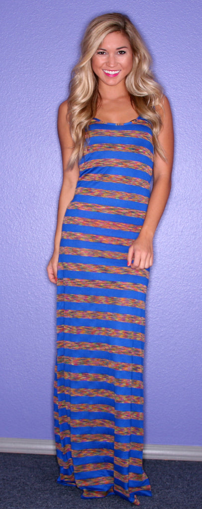 Glam Girl Stripe Maxi Blue