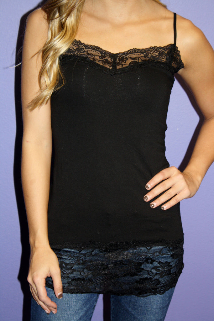 Long Lace Cami Black