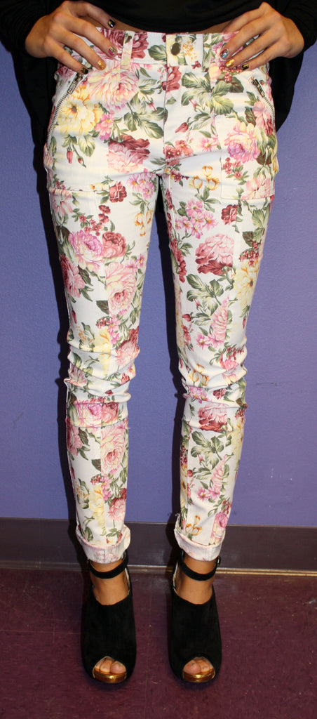 French Rose Denim Skinny White