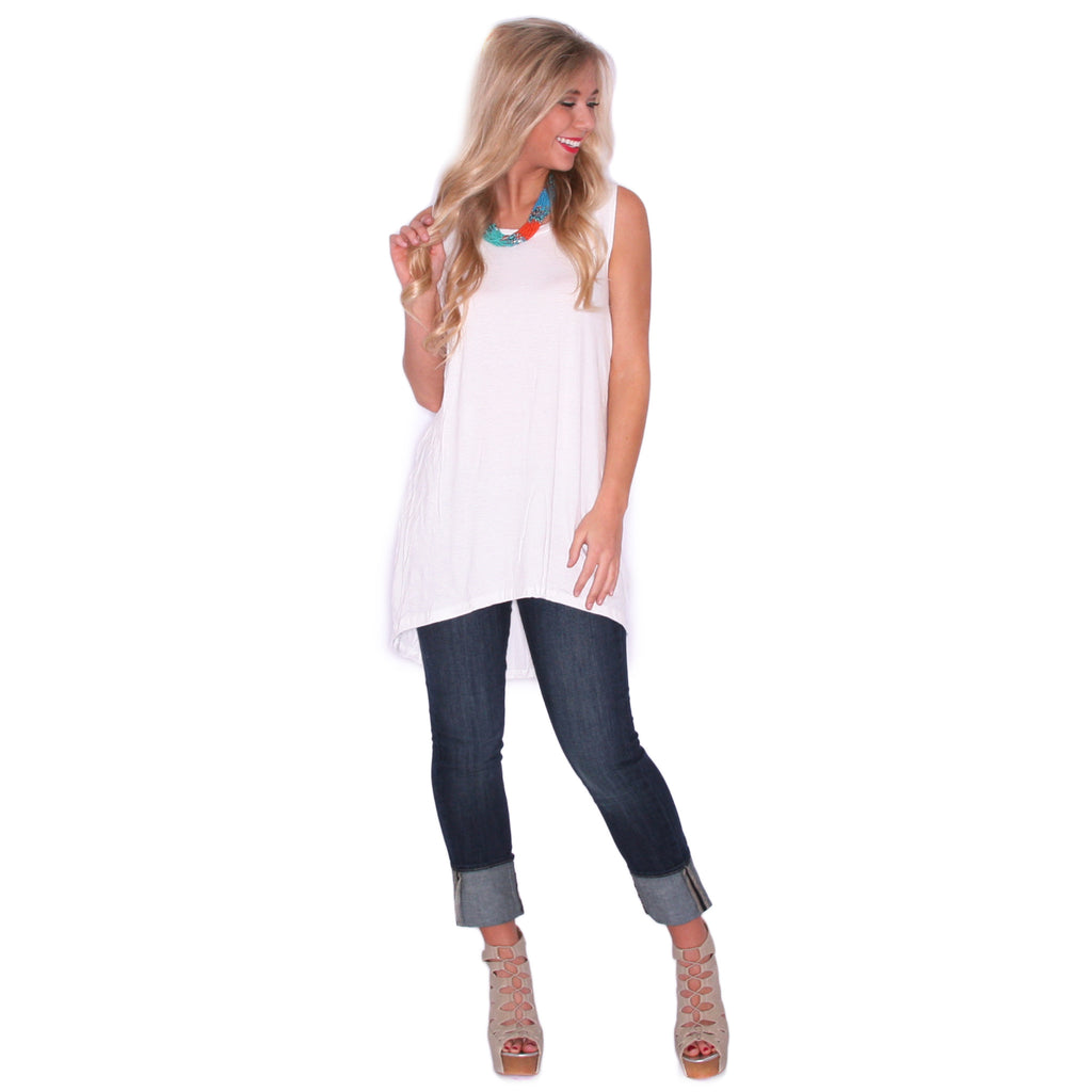 Anchors Away Tunic Tank in White