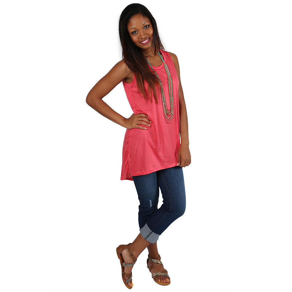 Anchors Away Tunic Tank in Coral
