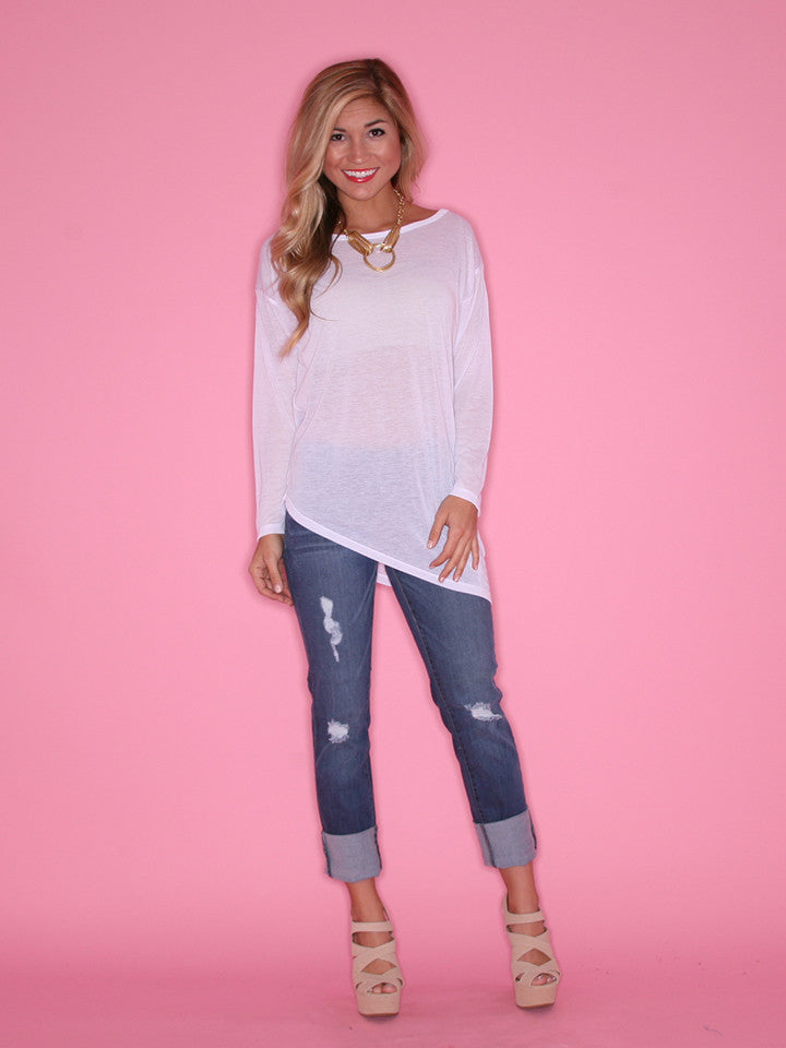 Asymmetrical Glam Tee White