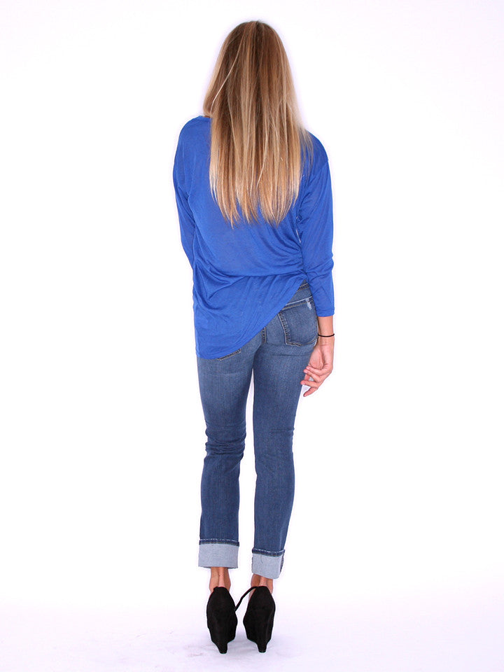 Asymmetrical Glam Tee Royal Blue