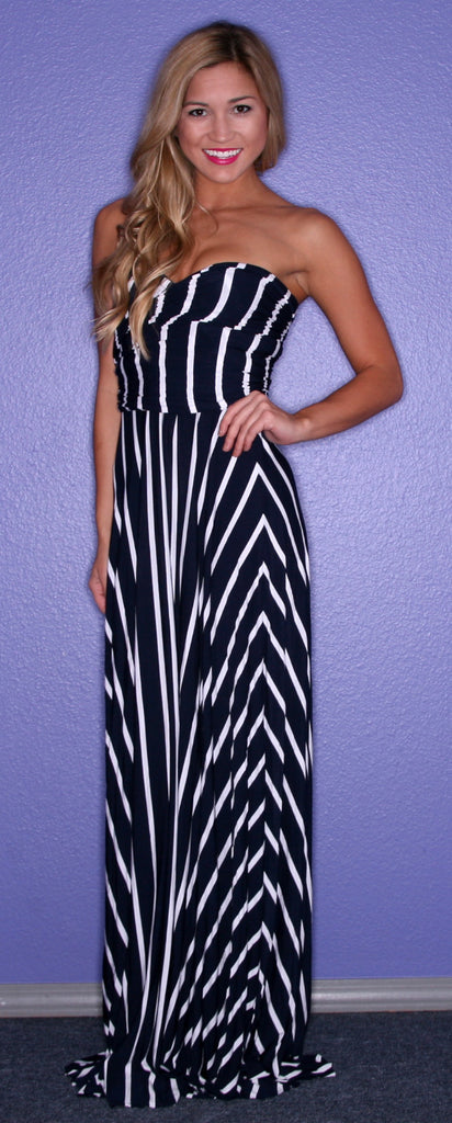 Bahama Stripe Maxi in Navy