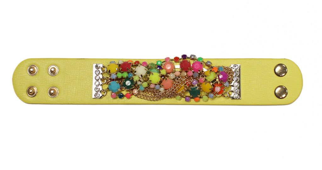 Baja Beaded Leather Bracelet Yellow