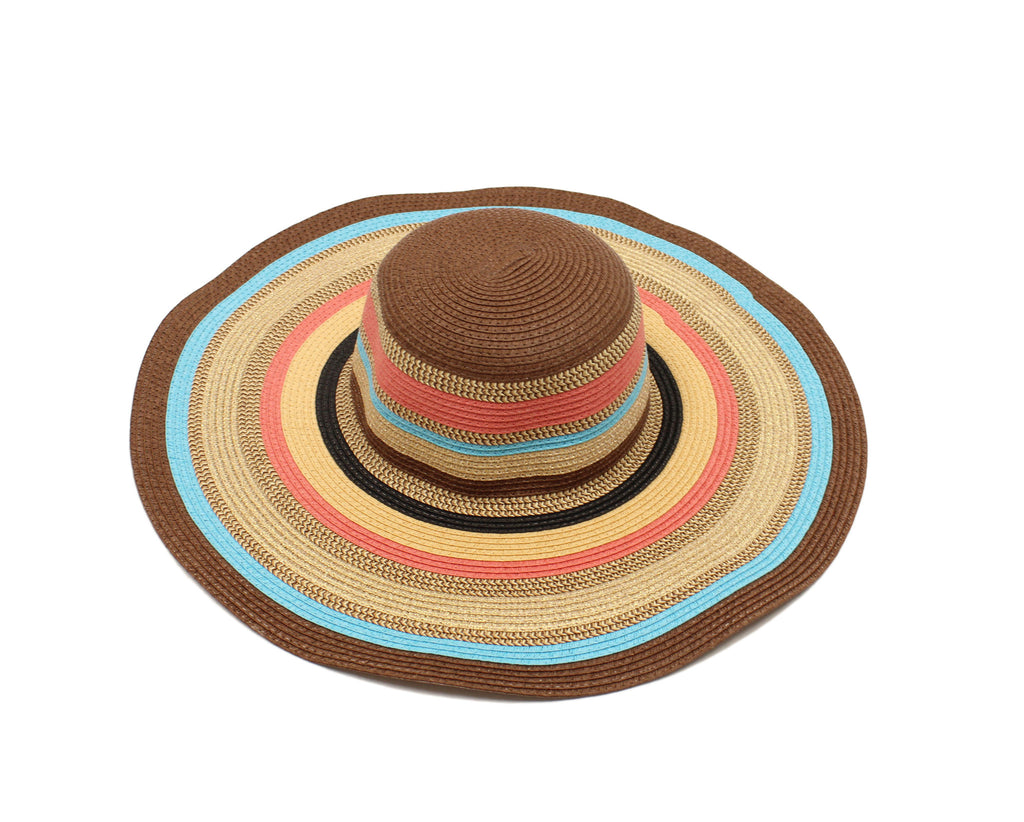 Beachy Stripe Hat in Brown