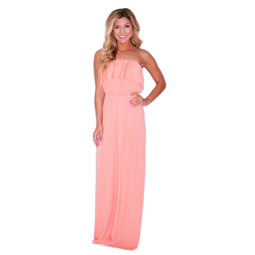 Blissful Day Maxi in Peach