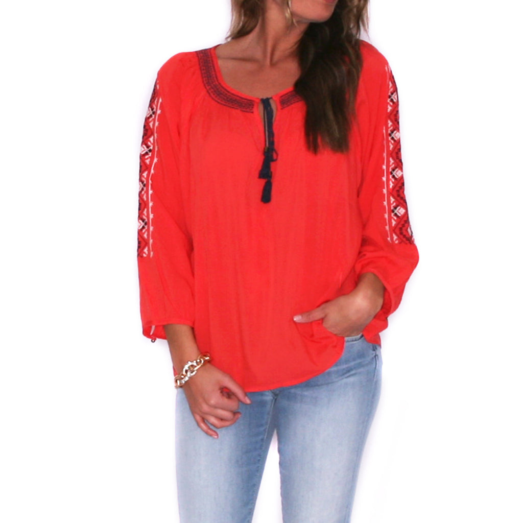 Pretty Boho Tunic in Tomato
