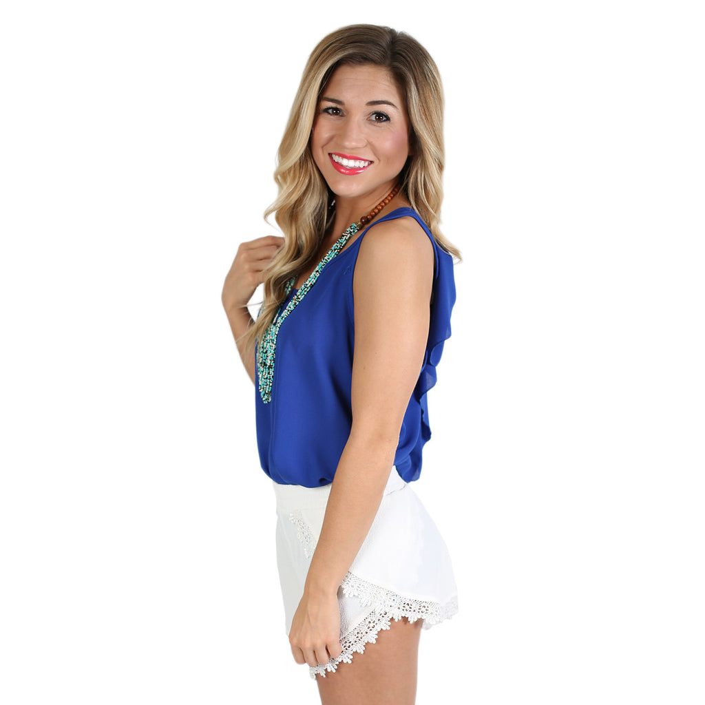 Bows & Charm Tank in Royal Blue