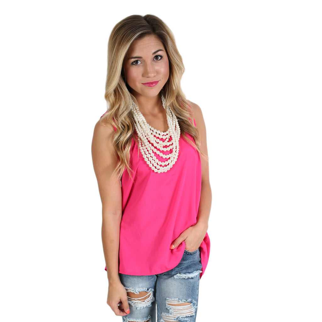 Bows & Charm Tank in Hot Pink