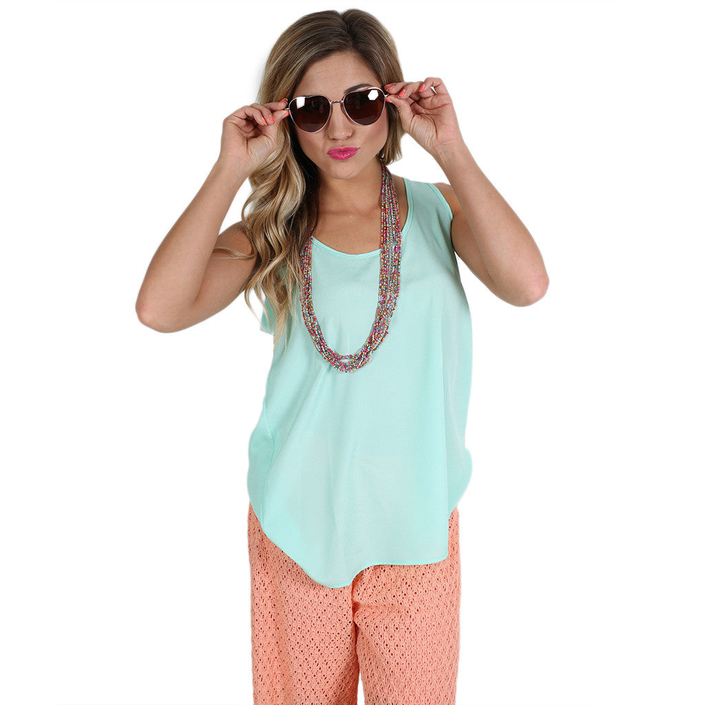 Bows & Charm Tank in Mint