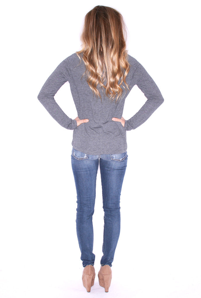 Casual Friday Long Sleeve Pocket Tee Gray