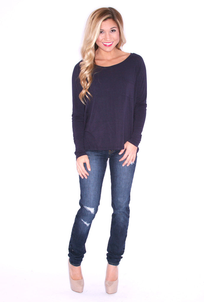 Casual Friday Long Sleeve Pocket Tee Navy
