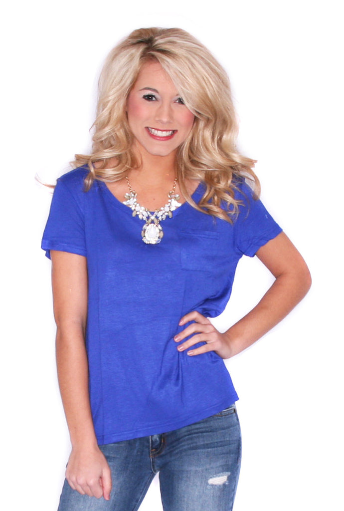 Chic Pocket Tee Blue