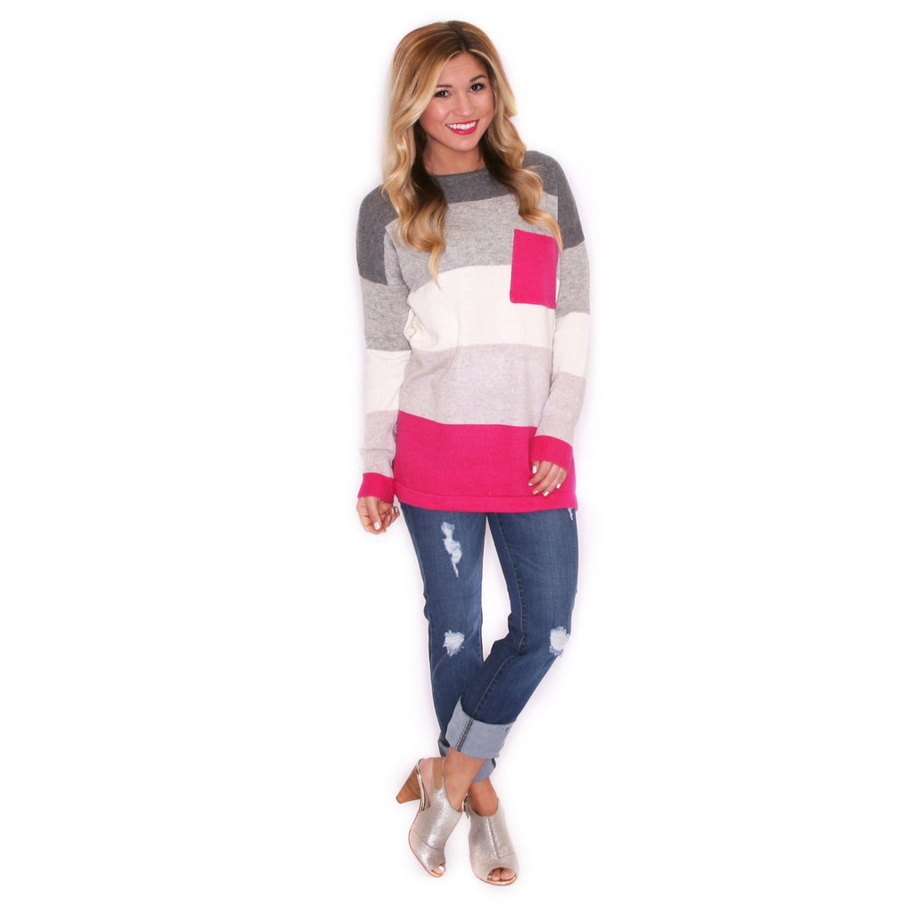 Cozy Luxury Fuchsia/Charcoal Sweater