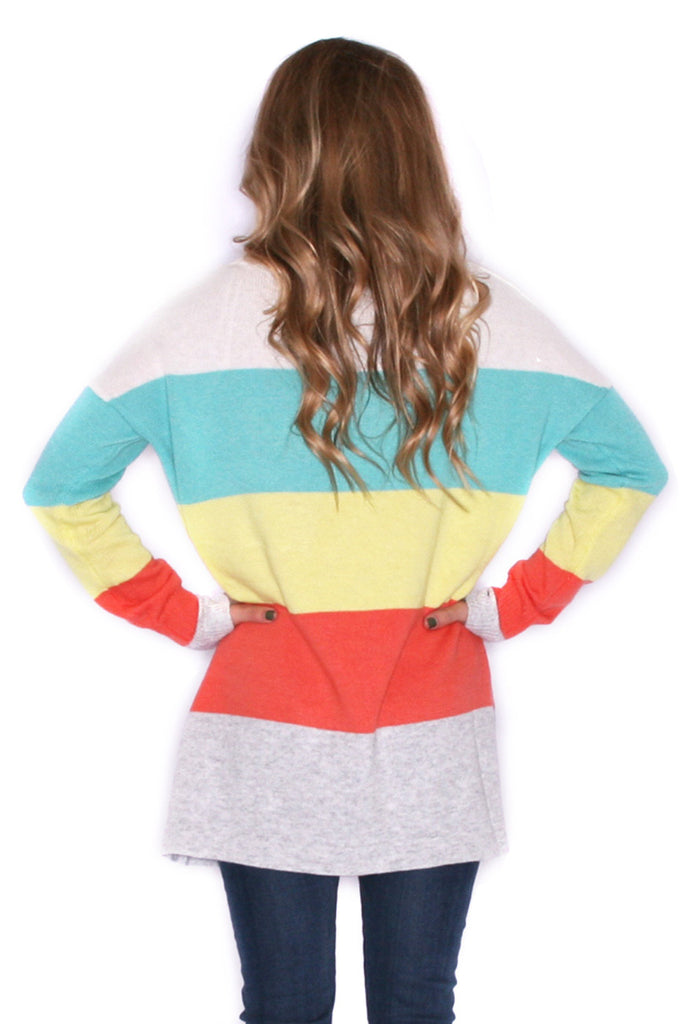 Cozy Luxury Lemon/Turquoise Sweater