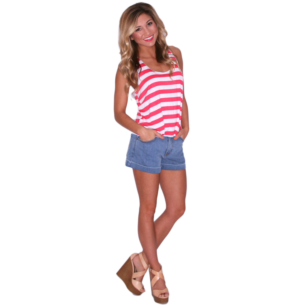 Crop & Flare Tank in Coral