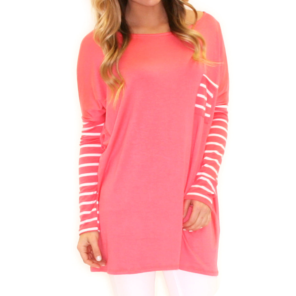 Striped Crush Pocket Tee Coral