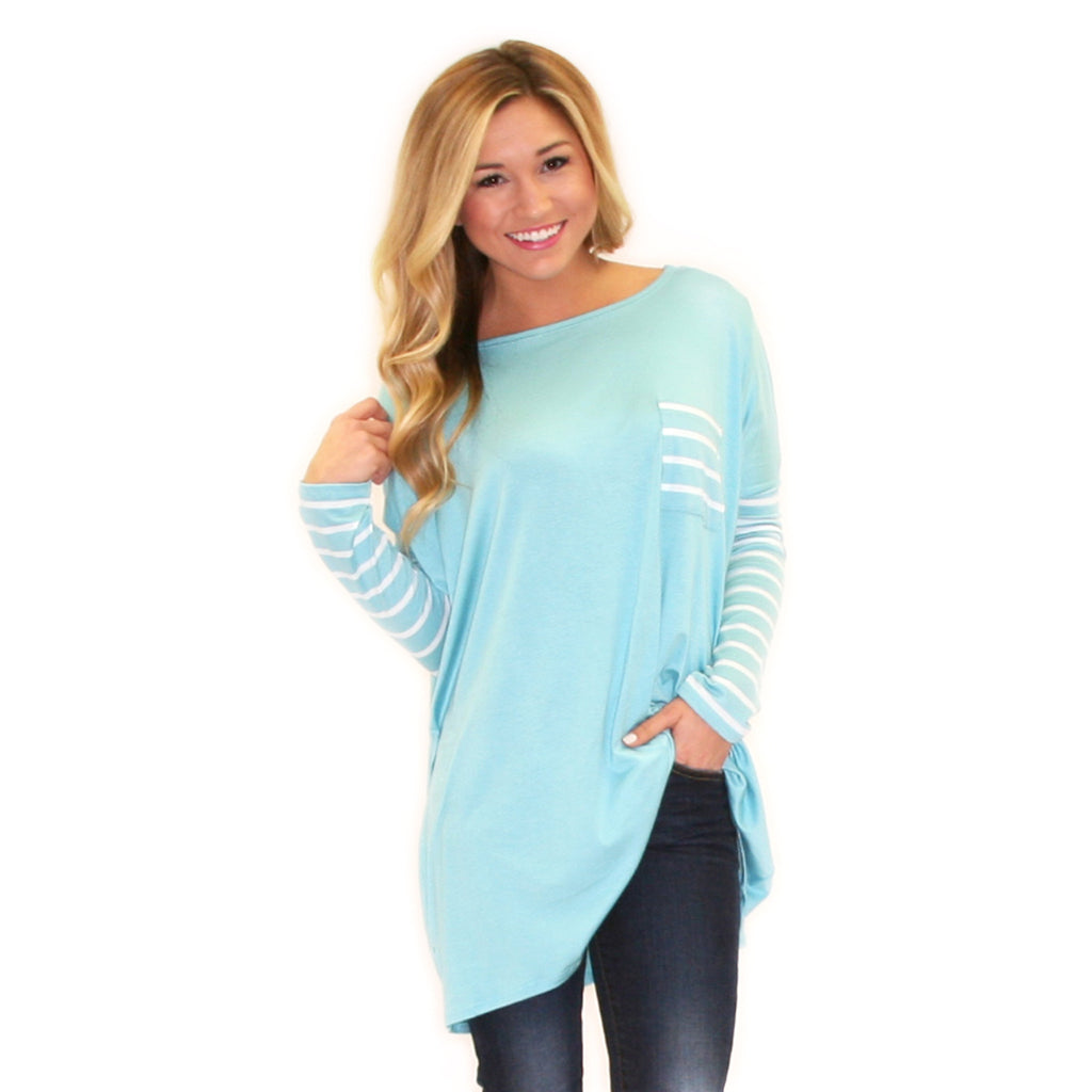 Striped Crush Pocket Tee Turquoise