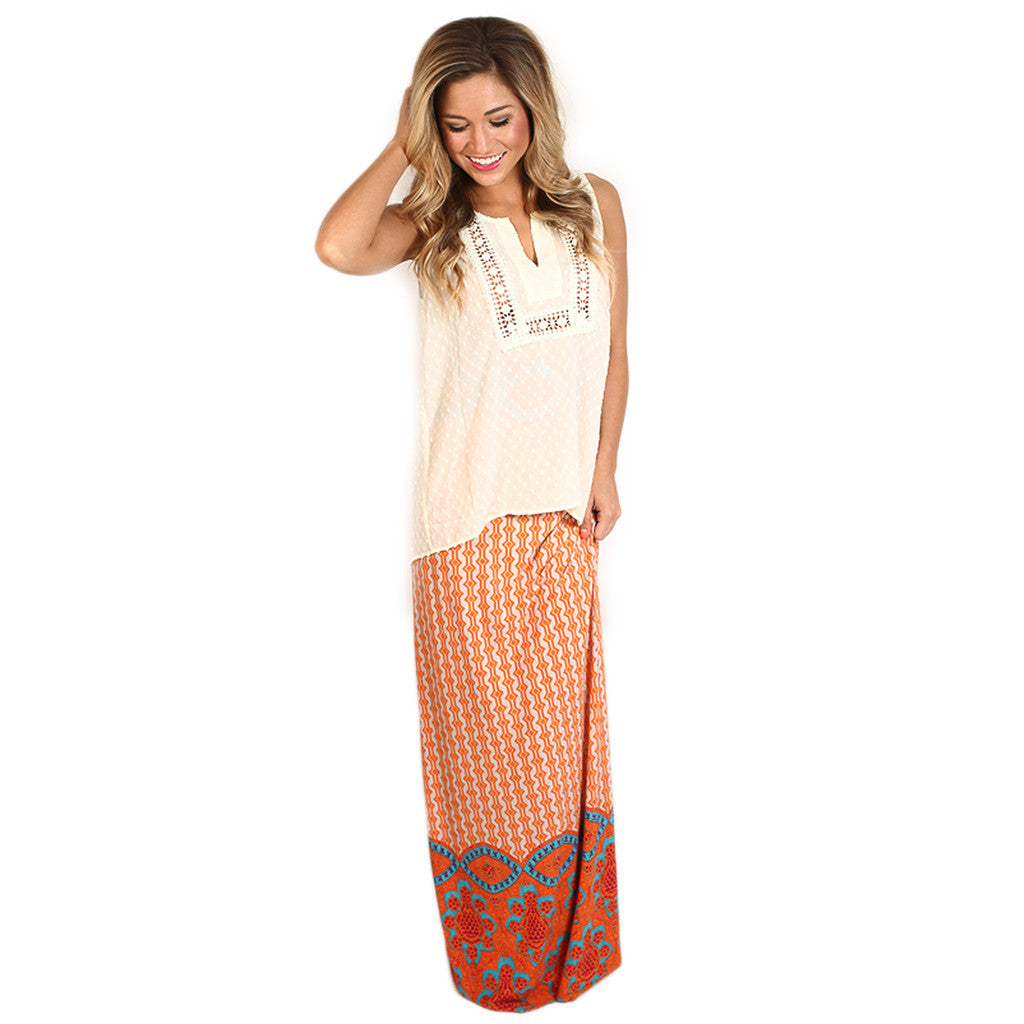 So Smitten Maxi Skirt in Orange