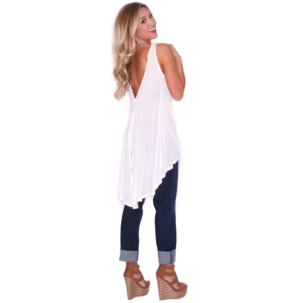 Deep Back Jersey Tank in Ivory