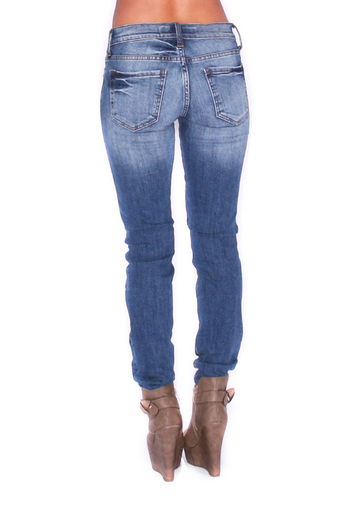 Destroyed Skinny Denim Medium Blue