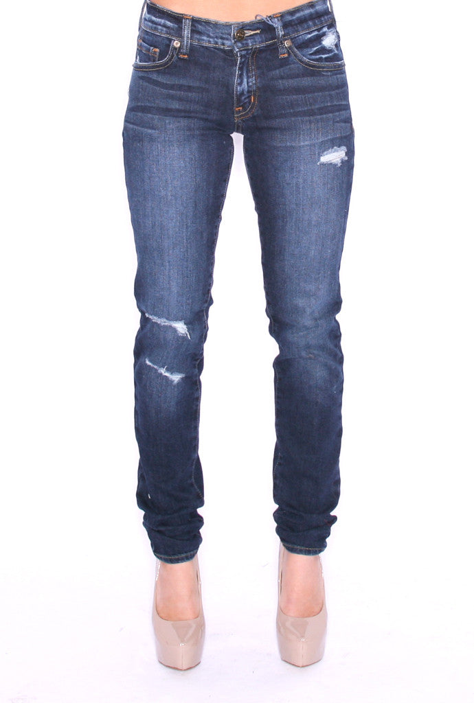 Destroyed Skinny Denim Stone Blue