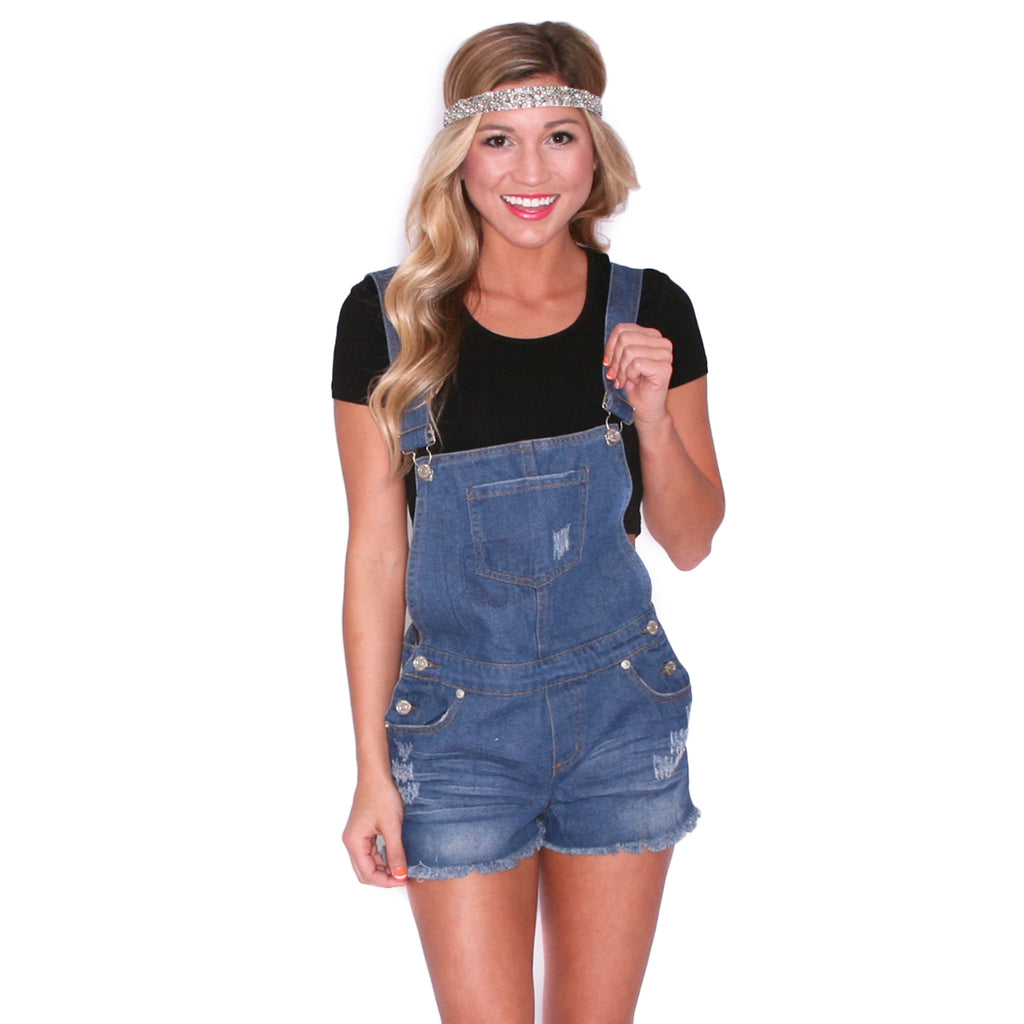 Distressed Denim Overall