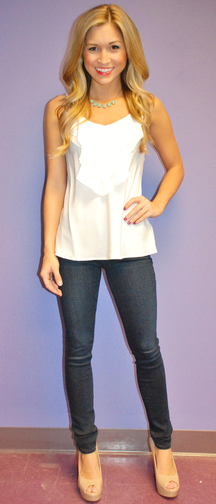 Beach Glam Tank White
