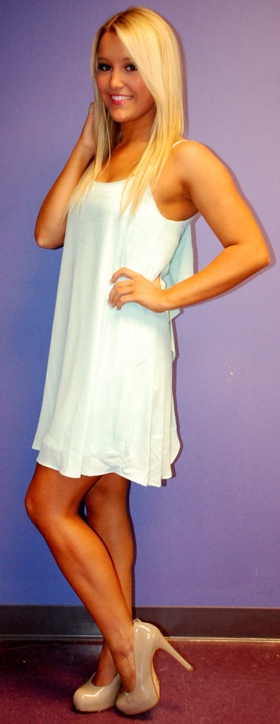 Bows and Kisses Mint Tank Dress
