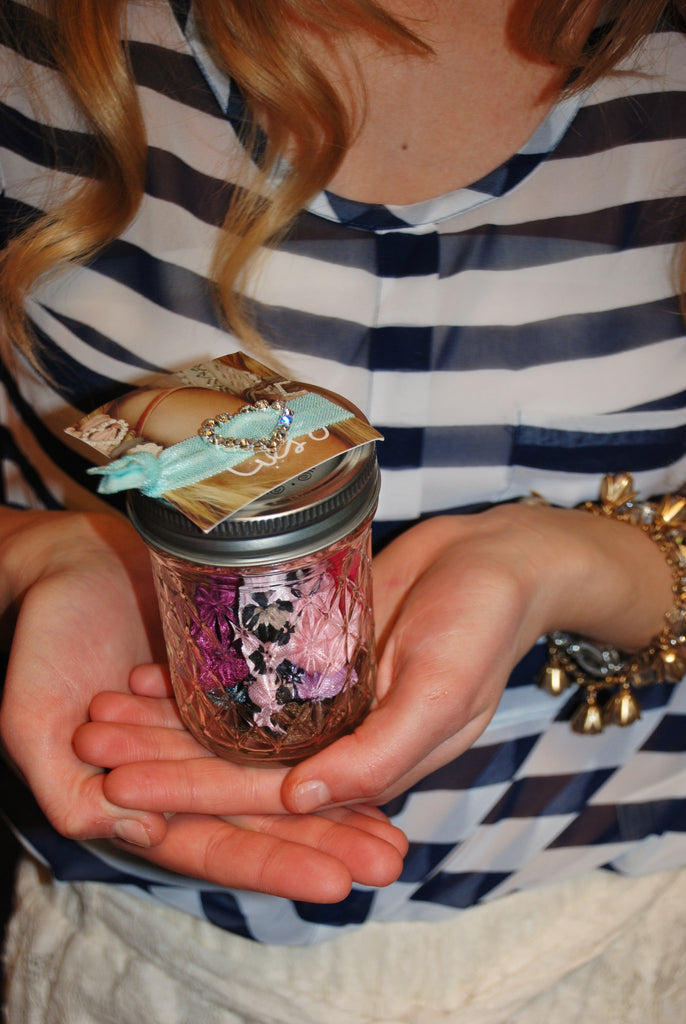 Mason Jar Filled With Hair Ties
