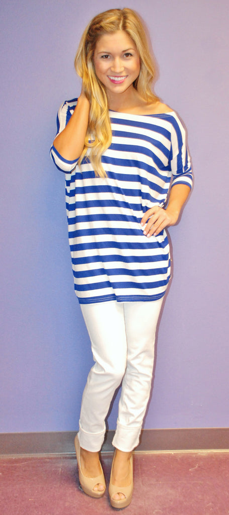Short Sleeve Blue Stripe PIKO
