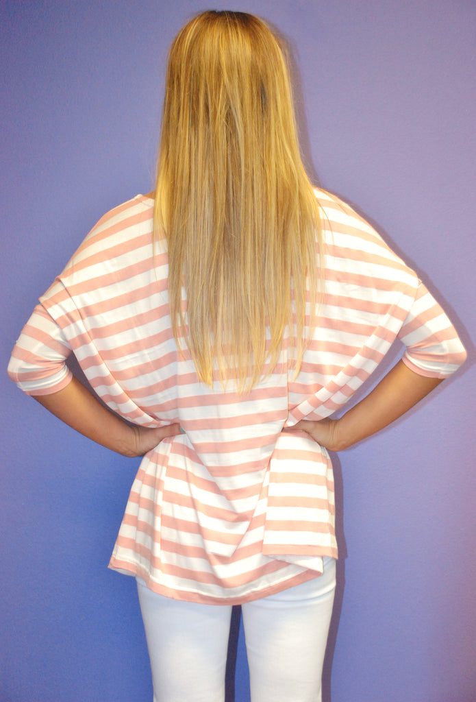 Short Sleeve Striped Peach PIKO