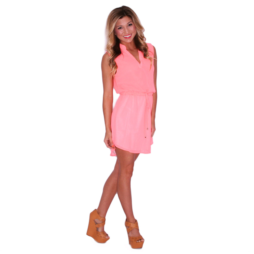 Falling For Fate Tunic in Neon Coral