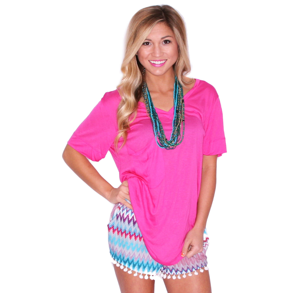 Fit Me Perfect V-Tee in Fuchsia