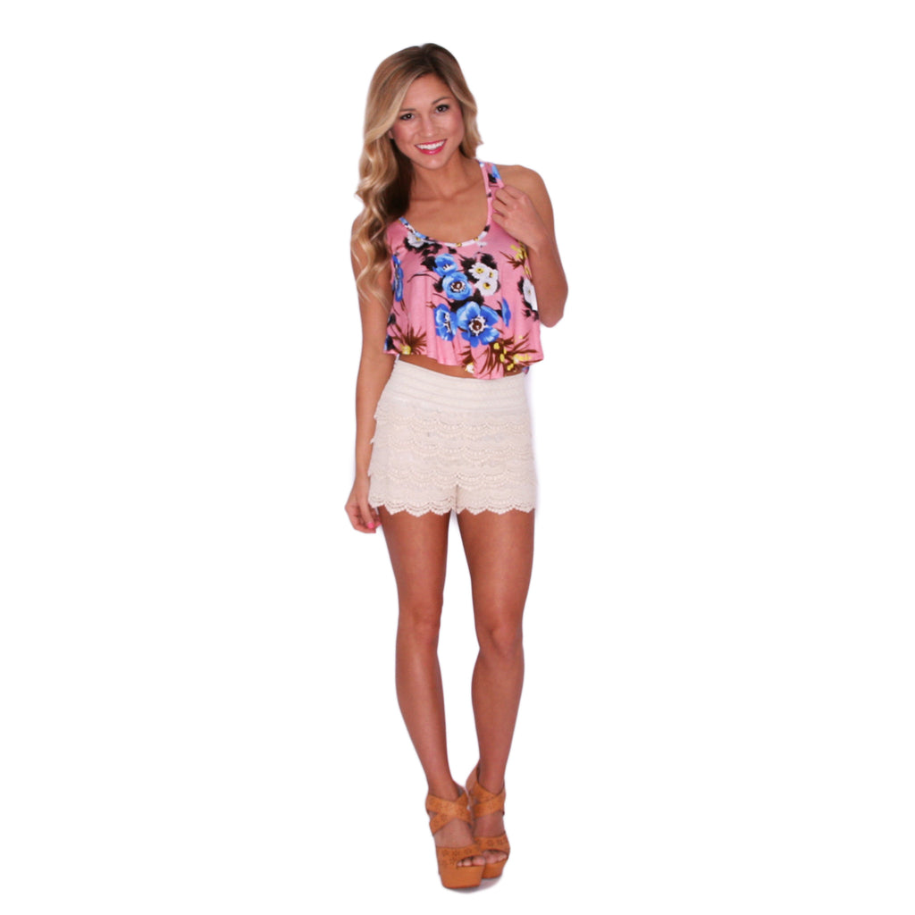 Floral Love Crop in Pink
