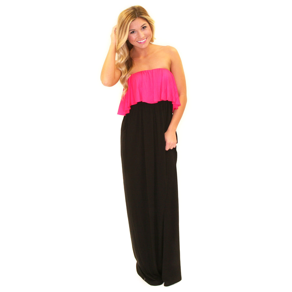 Front Row Fabulous Maxi in Pink/Black