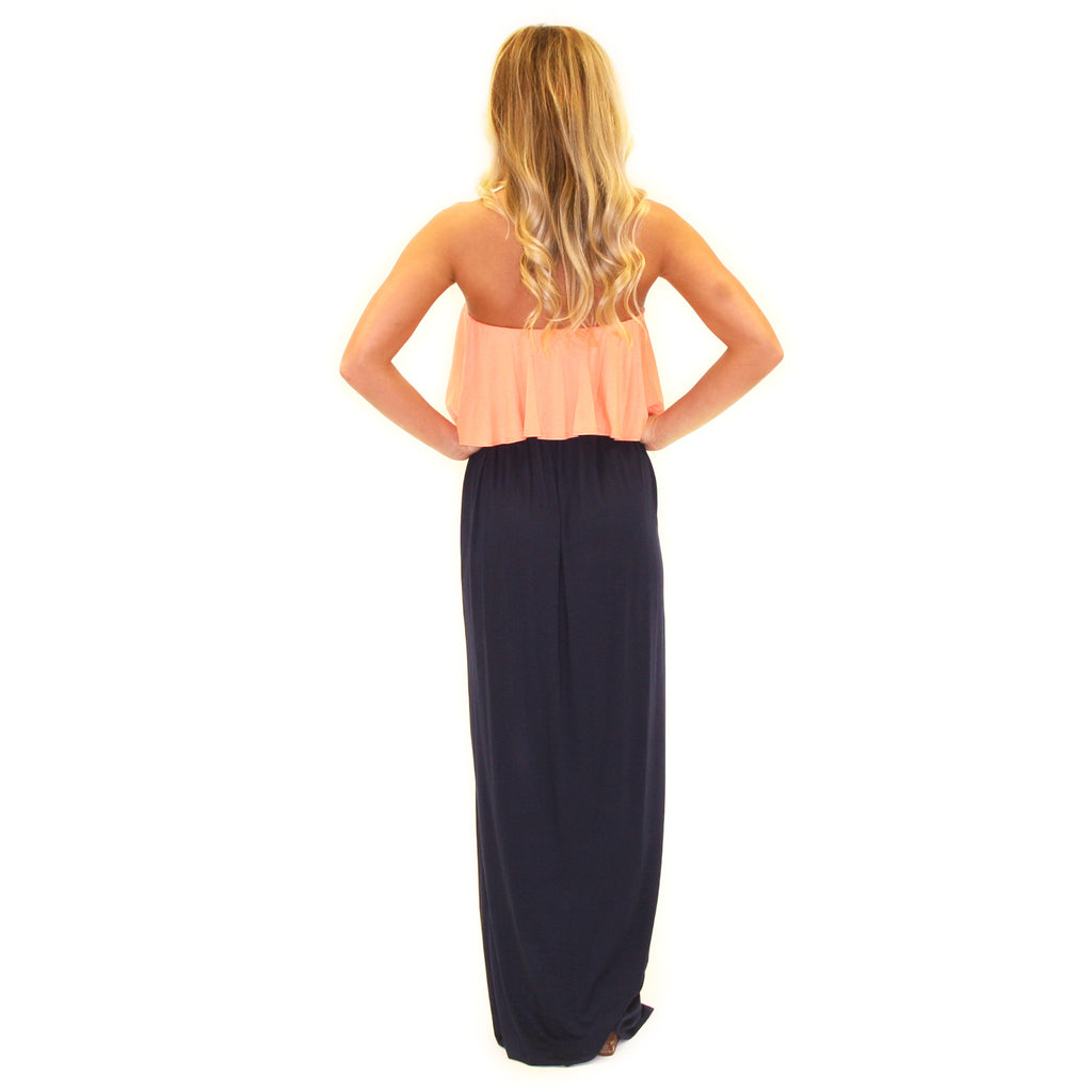 Front Row Fabulous Maxi in Apricot/Navy