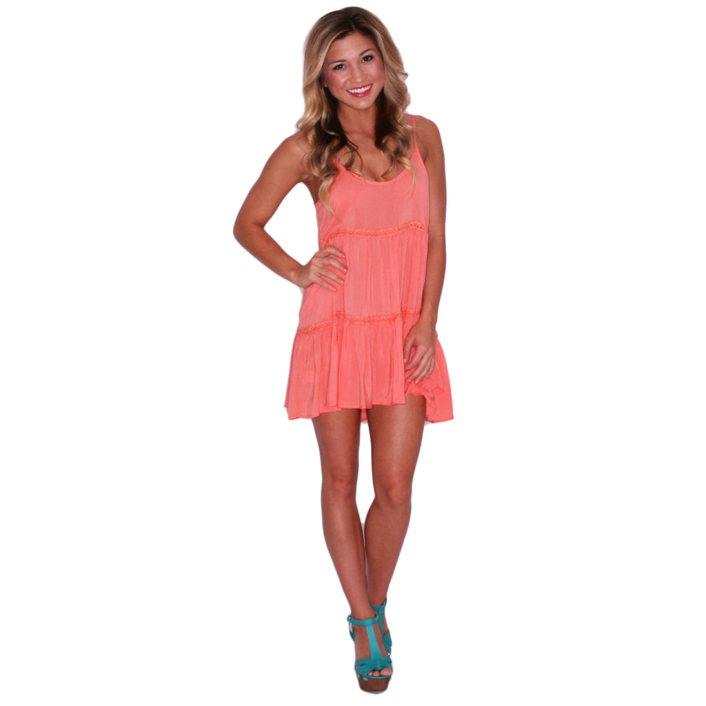 Garden Party Glam Dress in Coral