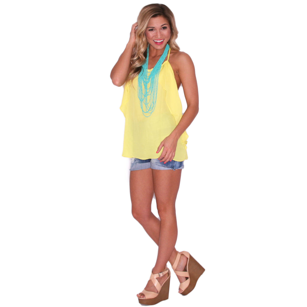 Girl's Trip Tank in Yellow