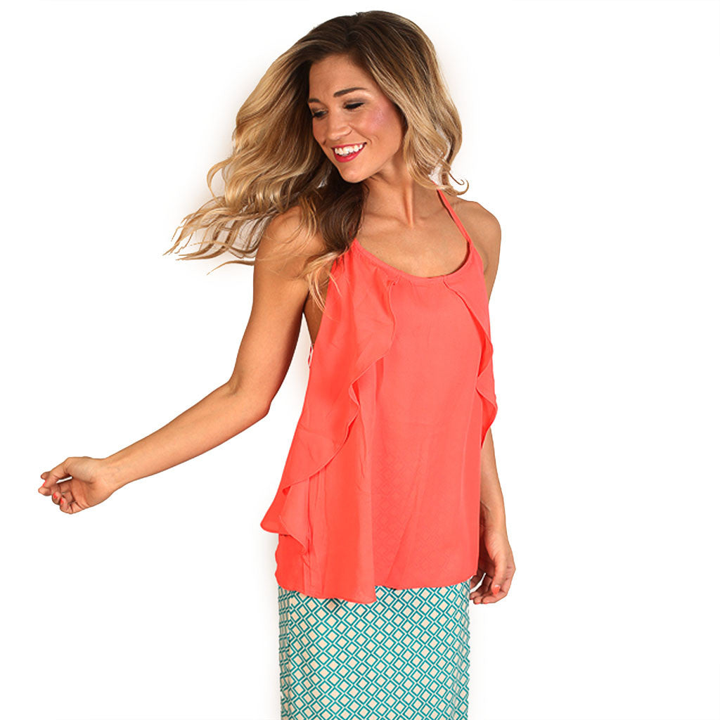 Girl's Trip Tank in Neon Coral