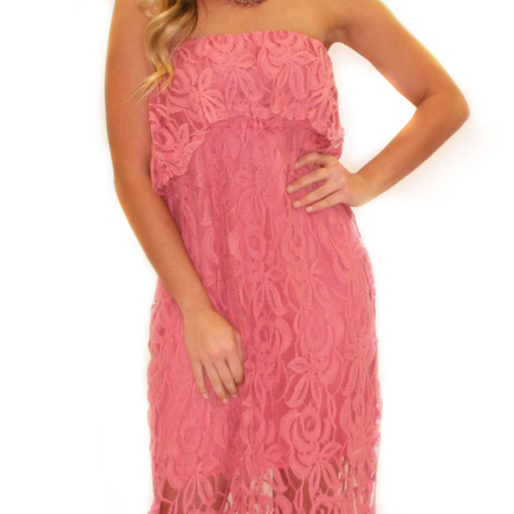 Graceful Lace Maxi in Rose