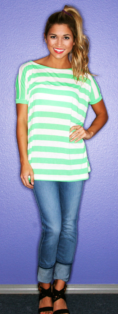 Short Sleeve Green Stripe PIKO