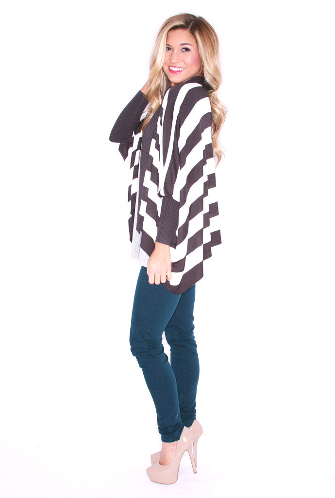 Happily Ever Striped Cardi Charcoal